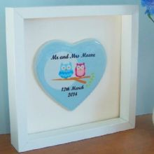 Framed Owl Couple Ceramic Heart - Cute Personalised Wedding Gift